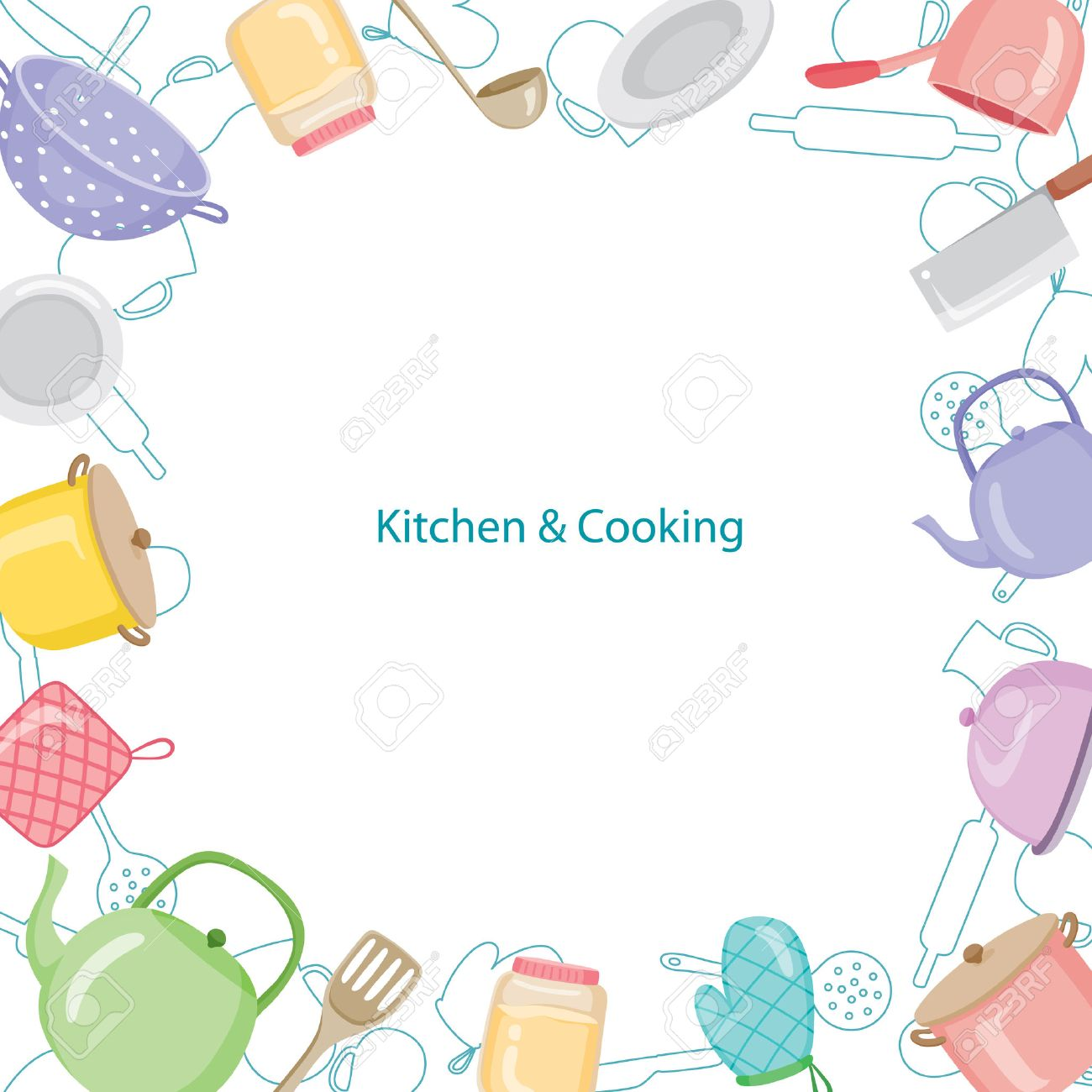 Kitchen Equipment Border, Kitchen, Kitchenware, Crockery, Cooking,...