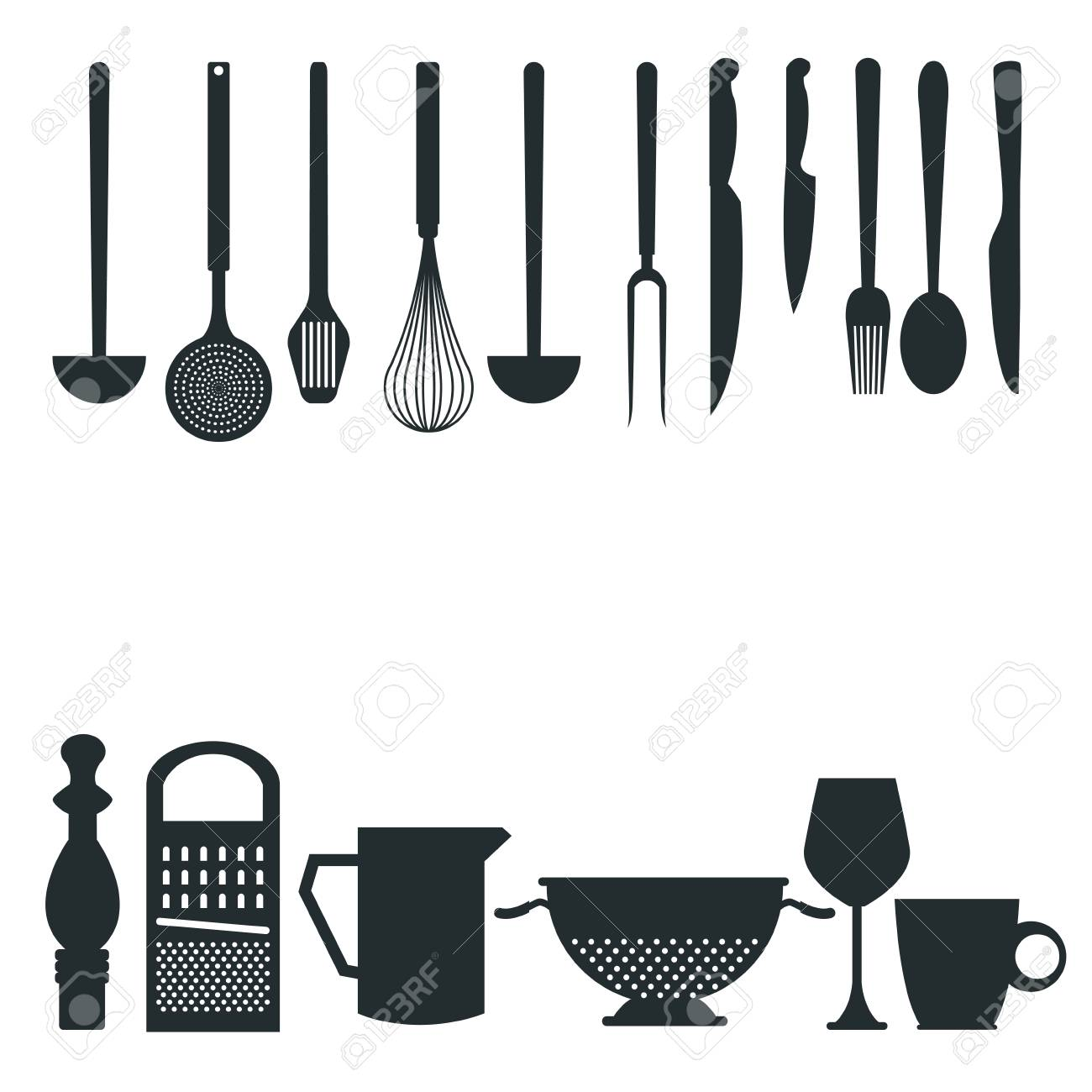 white background with monochrome silhouette different utensils...