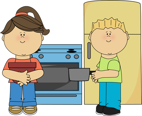 Clipart boy play kitchen.