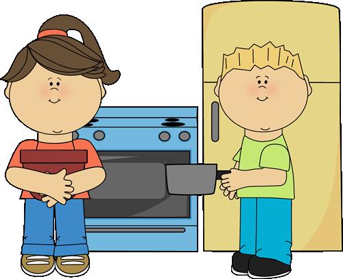 Clipart boy play kitchen.