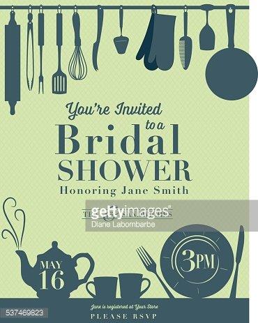 Bridal Shower Kitchen Invitation Clipart Image.