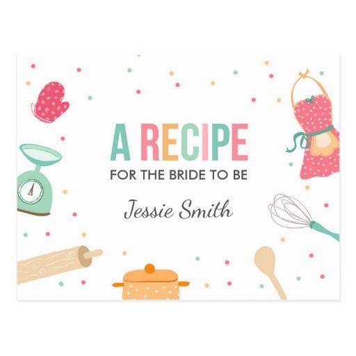 Kitchen Bridal Shower Recipe Cooking Mint Pink Postcard.