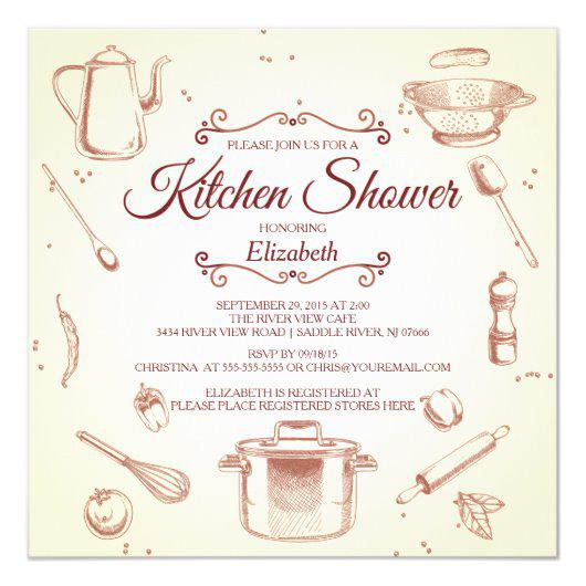 Stock The Kitchen Bridal Shower Invitation.