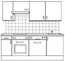 white kitchen cabinets clipart.
