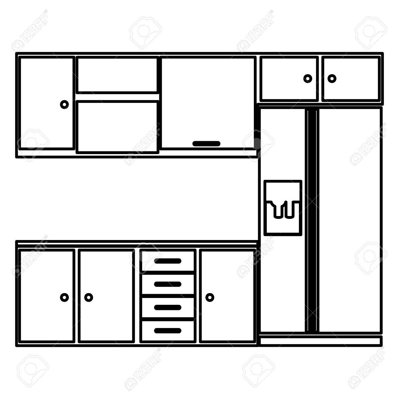 Sketch silhouette kitchen interior with cabinets and fridge vector...