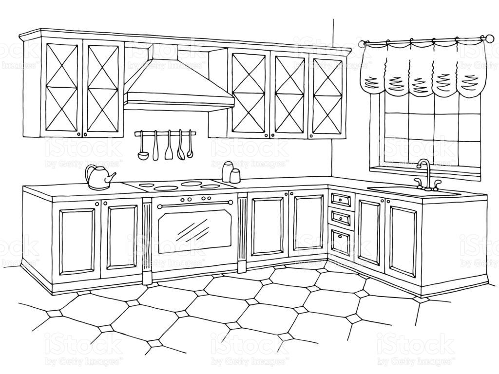 Kitchen clipart black and white » Clipart Station.