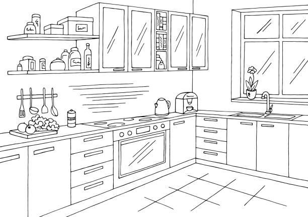 Best Kitchen Room Interior Black White Graphic Art Sketch.