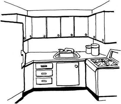 Kitchen Clipart Black And White.