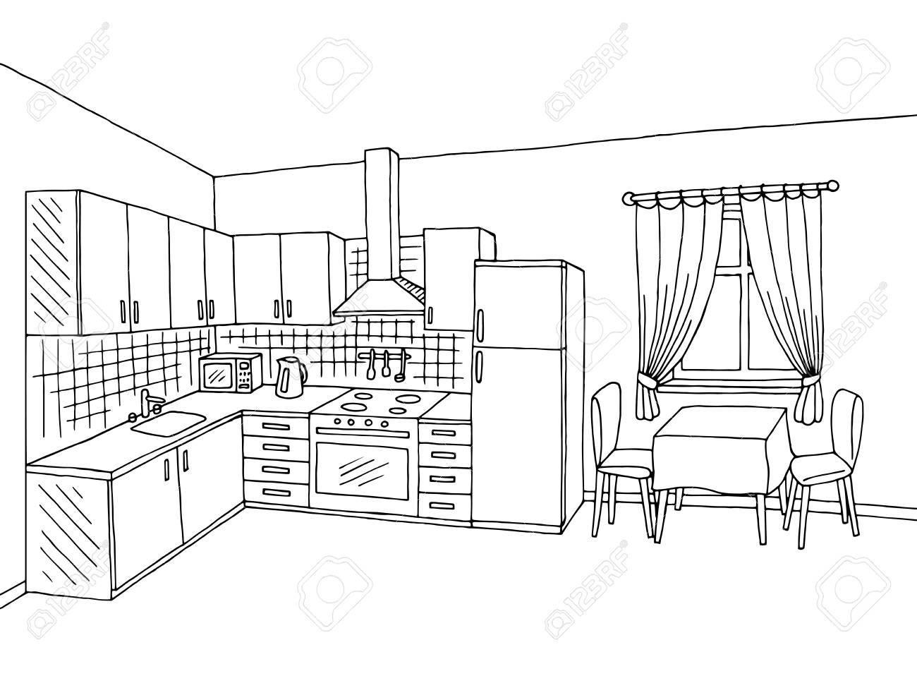 Kitchen black and white clipart » Clipart Portal.