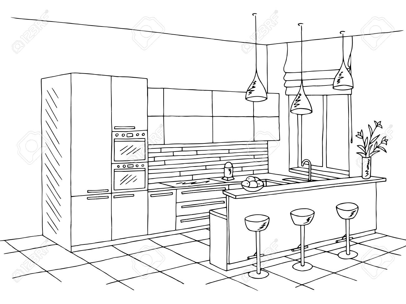Kitchen room interior black white graphic art sketch illustration.