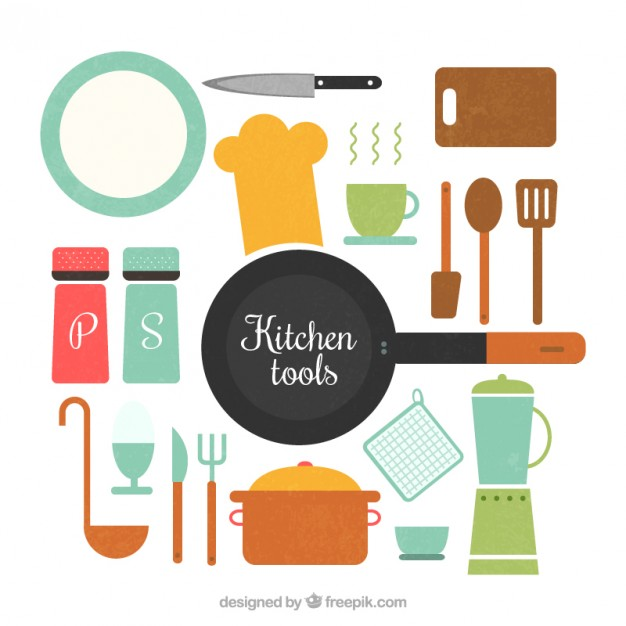 Flat kitchen utensils Set Vector.