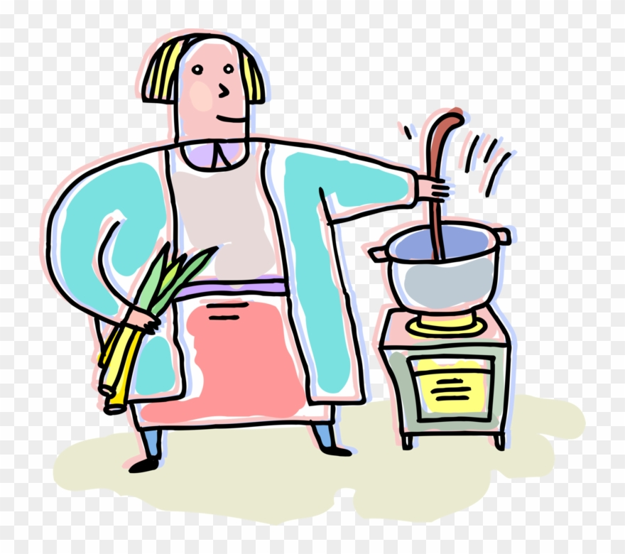 Vector Illustration Of Kitchen Cook Cooking With Soup.