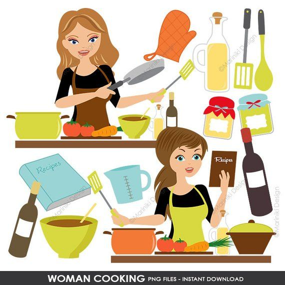 Cooking Kitchen Clipart Set, Baking Clipart, Woman Chef.