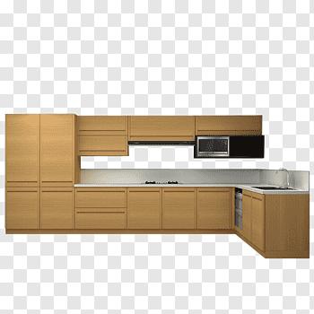 White and brown modular kitchen illustration, Kitchen.