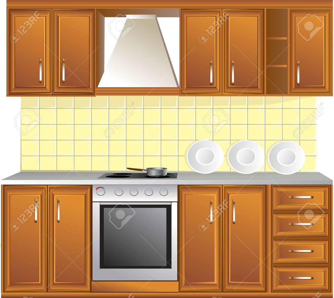 Open Kitchen Cabinet Clipart.