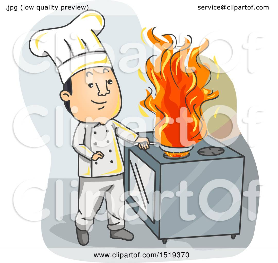 Clipart of a Chef Cooking with Fire in a Kitchen.