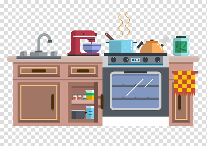 Brown kitchen illustration, Kitchenware Animation Cartoon.