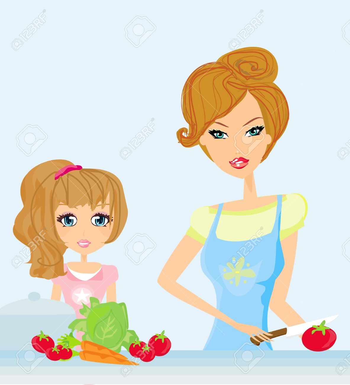 Happy Mother Helping Her Daughter Cooking In The Kitchen Royalty.