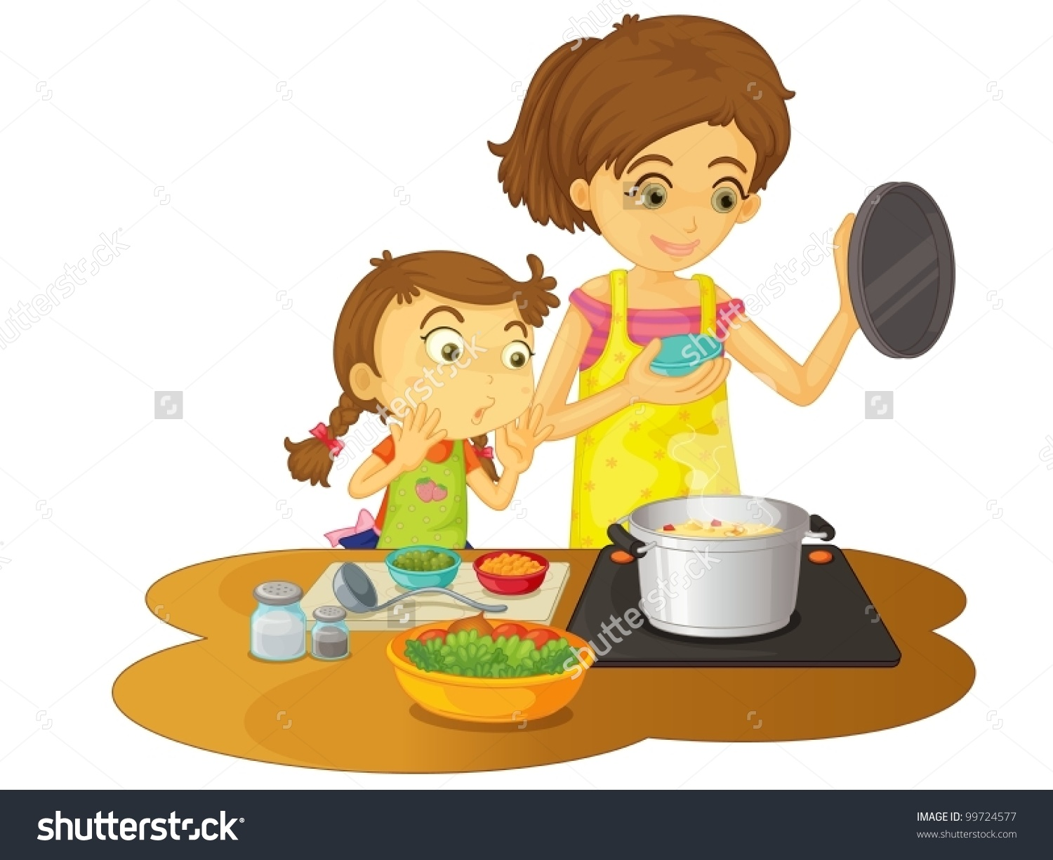 Help cook dinner clipart.