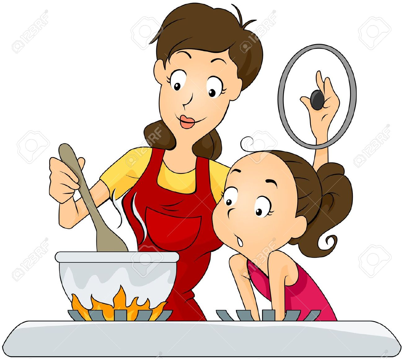 Mother And Daughter At The Kitchen Royalty Free Cliparts, Vectors.