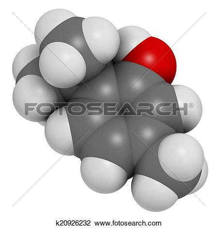 Clip Art of Thymol oil of thyme molecule. Present in kitchen herb.