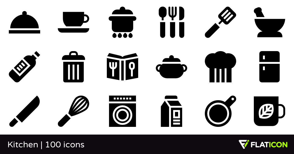 Kitchen 100 free icons (SVG, EPS, PSD, PNG files).
