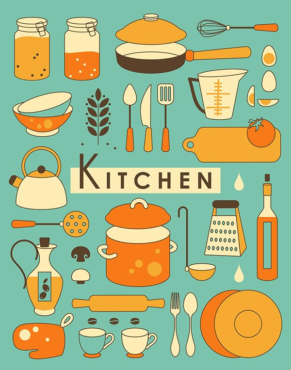 Food and kitchen illustrations on Behance in 2019.