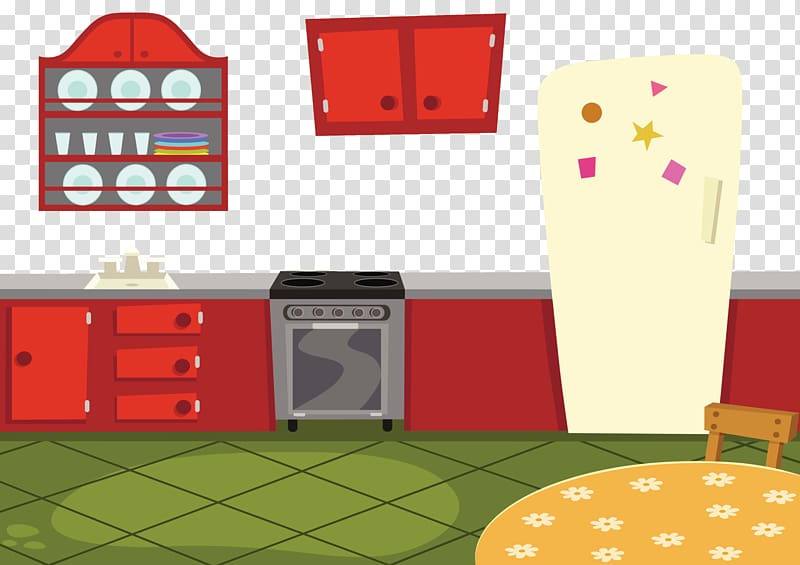 Kitchen illustration, Kitchen cabinet Cartoon, Cartoon.