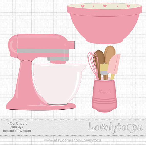 Kitchen Baking clip art set mixer utensils and bowl by Lovelytocu.