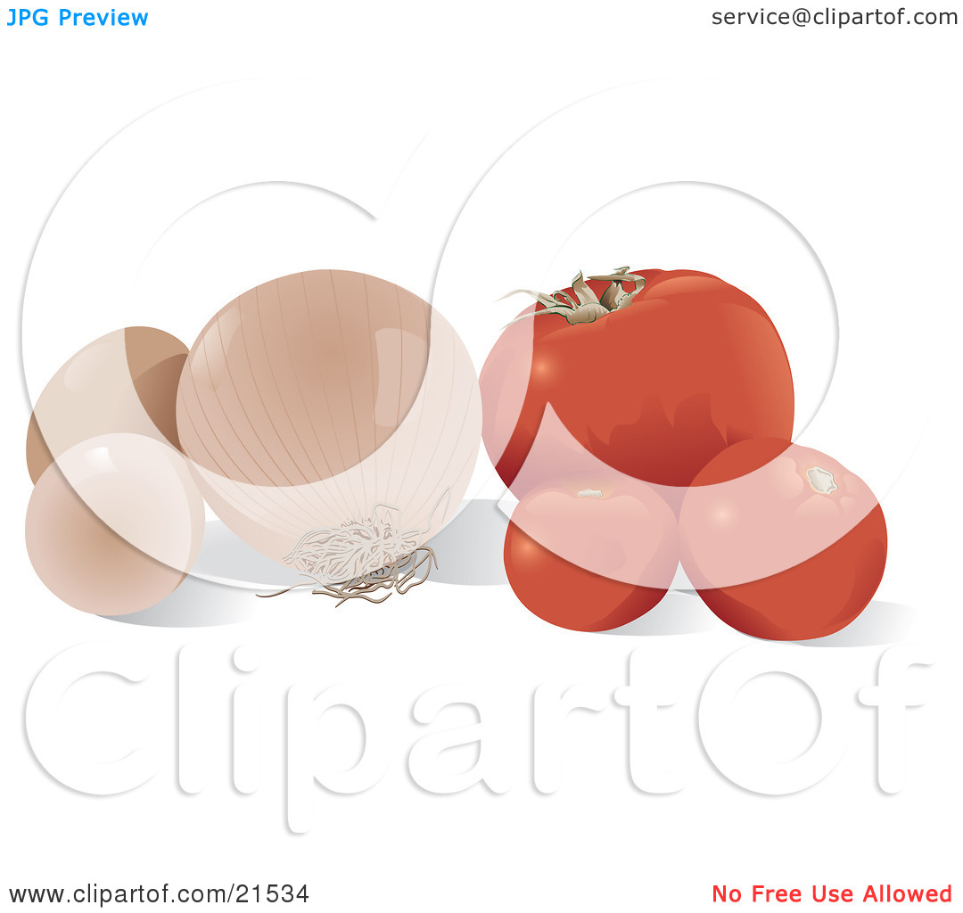 Clipart Illustration of a Still Life Of Red Tomatoes, A White.