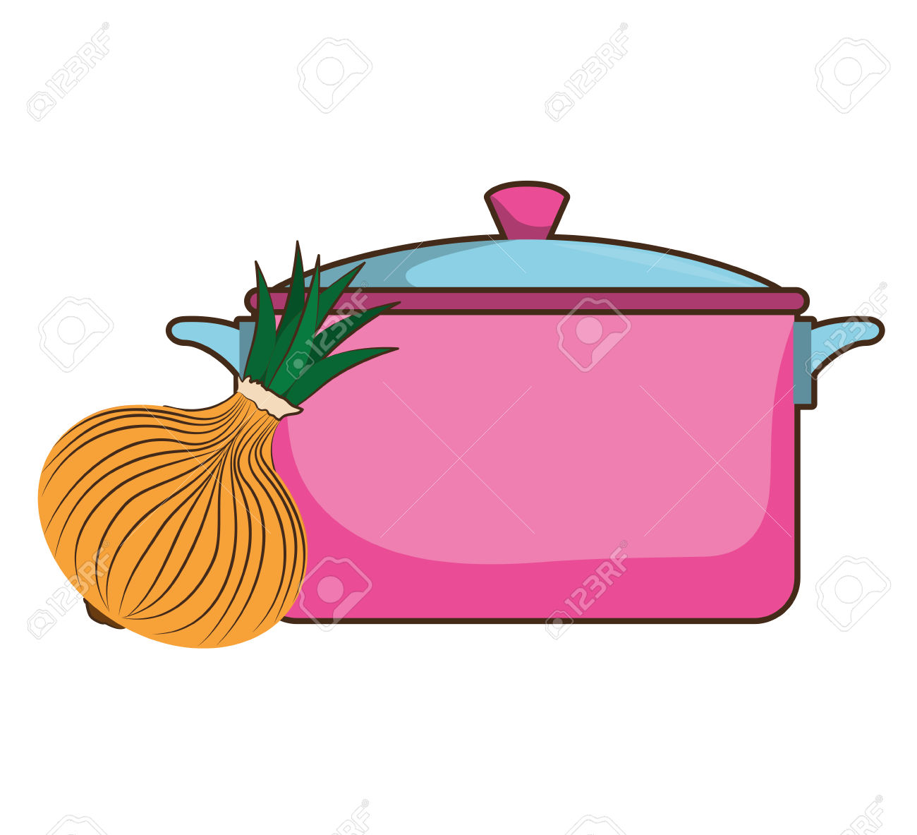 Pink Kitchen Pot Utensil And Onion Vegetable. Vector Illustration.