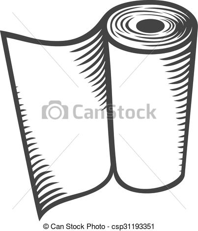 Clipart Vector of paper towel (kitchen paper roll, hand paper.