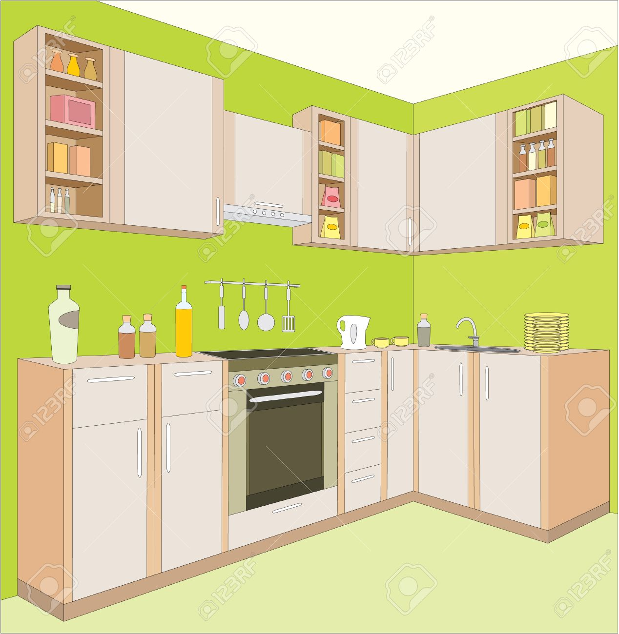 Clipart kitchen room.
