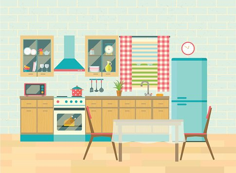 Kitchen interior and dining room poster vector flat.
