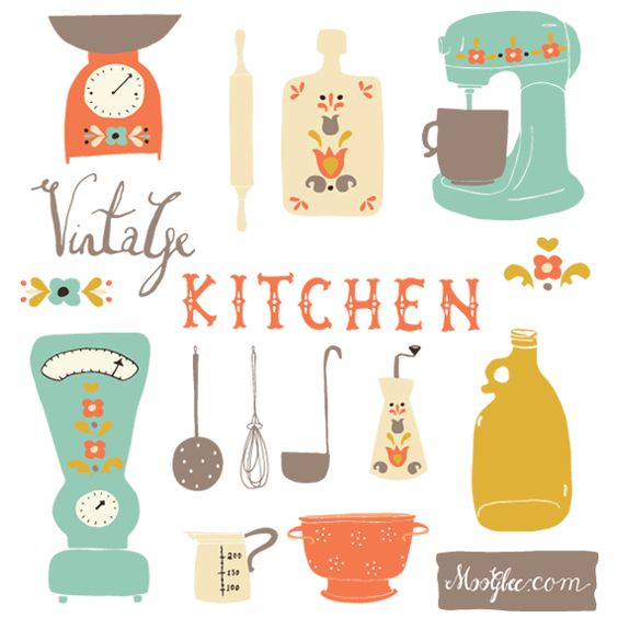 Vintage Kitchen Clip Art Set..