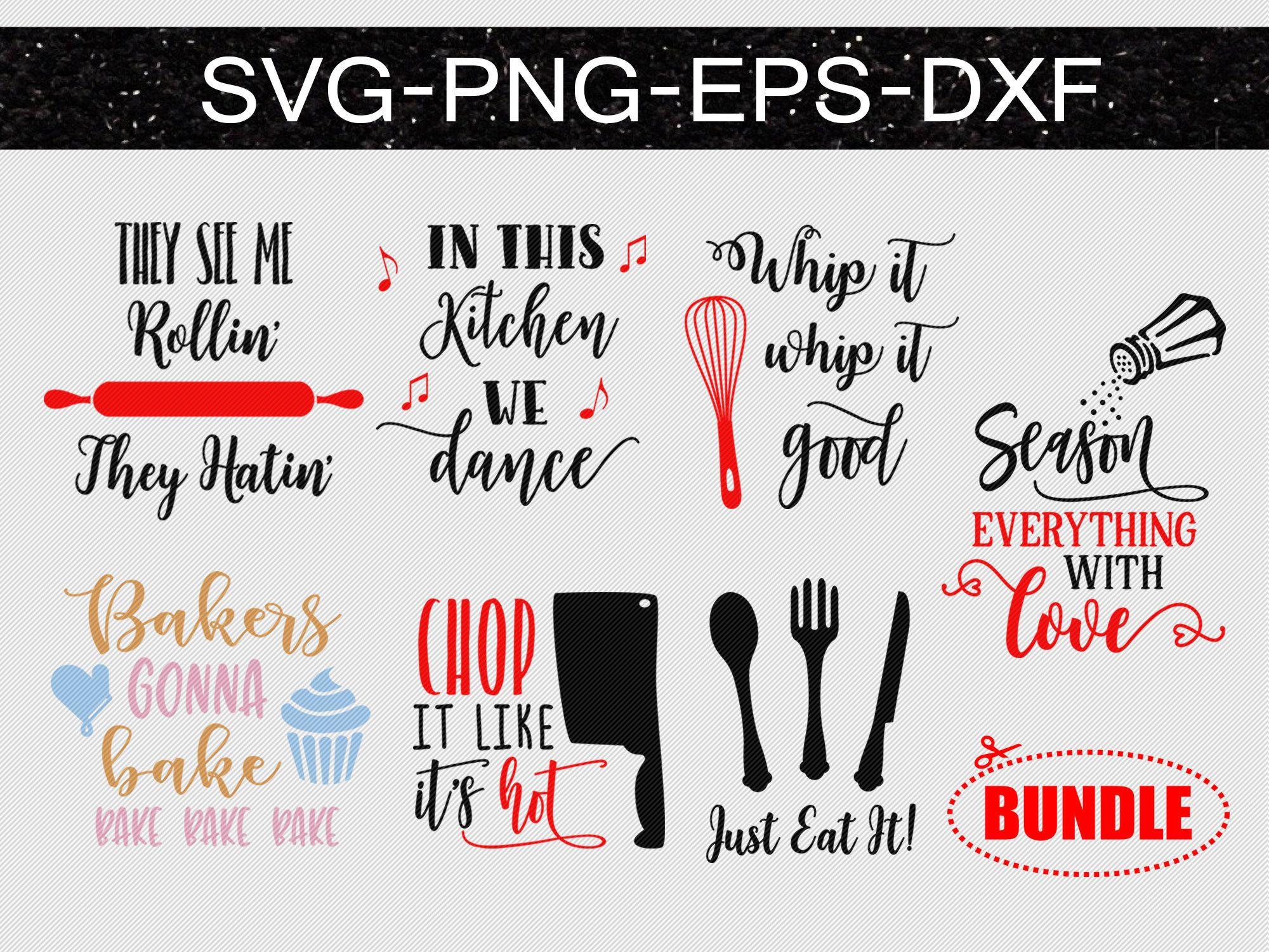 Kitchen bundle svg files, kitchen sayings svg, wall art, cooking svg.