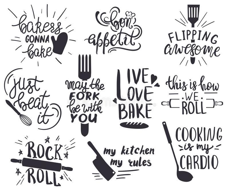 Kitchen Sayings Stock Illustrations.