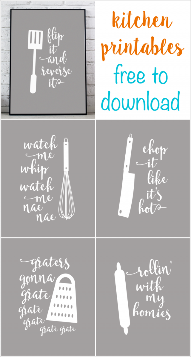 Funny Kitchen Printables that are Puntastic.