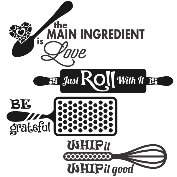 Kitchen Food Sayings Svg Cuttable Designs.