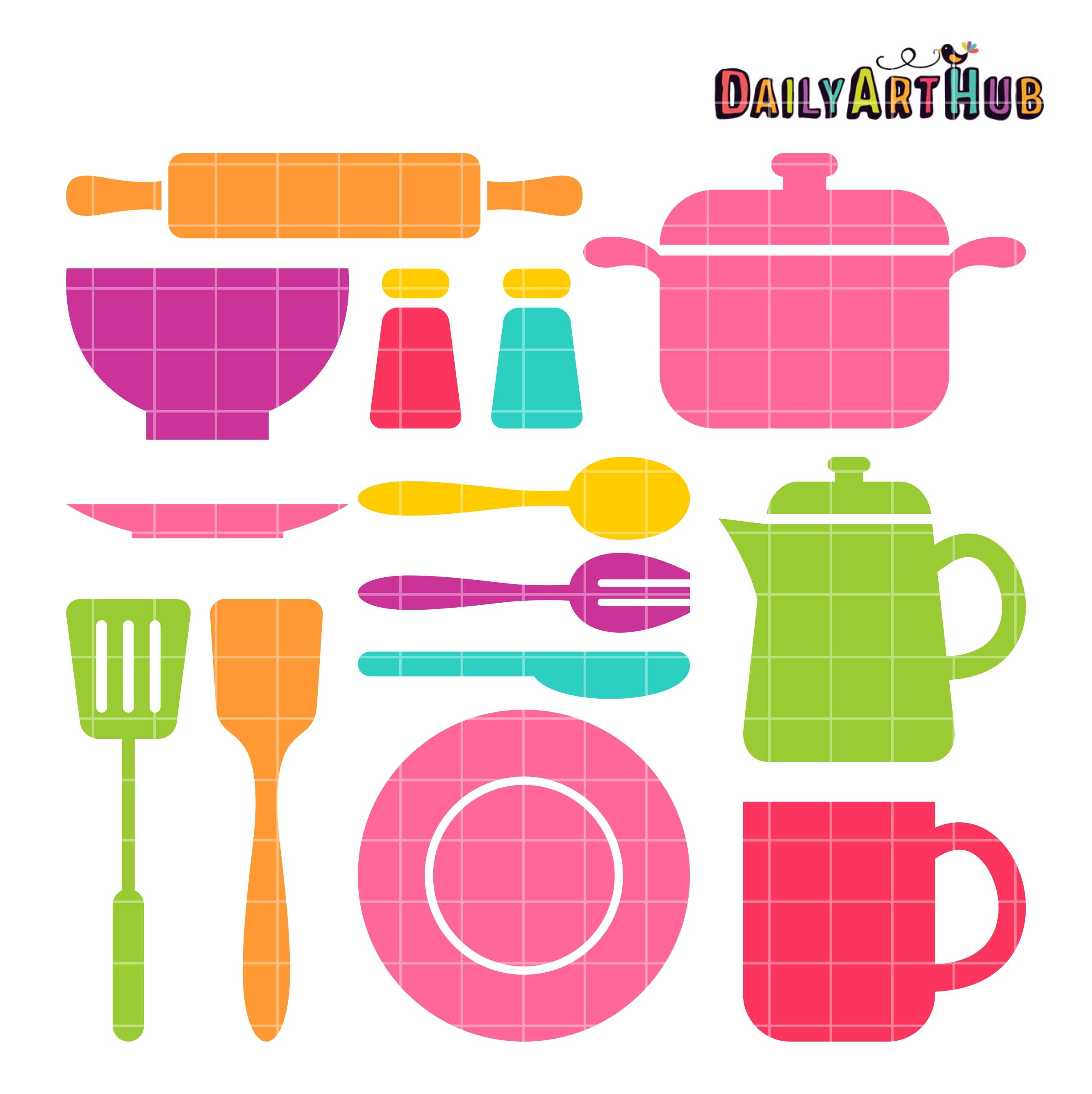 Kitchen Stuff Clip Art Set.