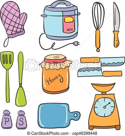 Kitchen set accessories doodle collection.