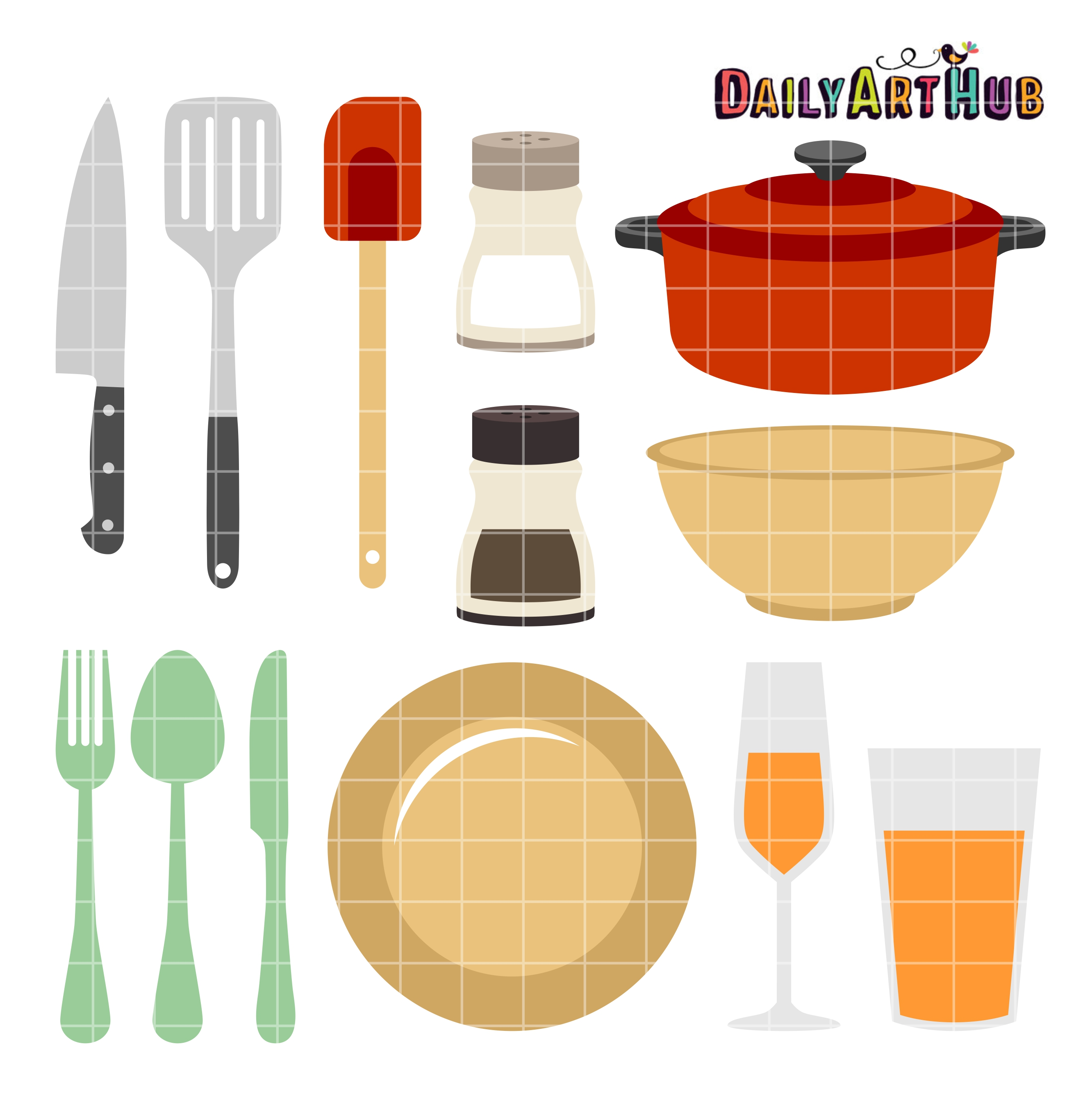 Kitchen Things Clip Art Set.