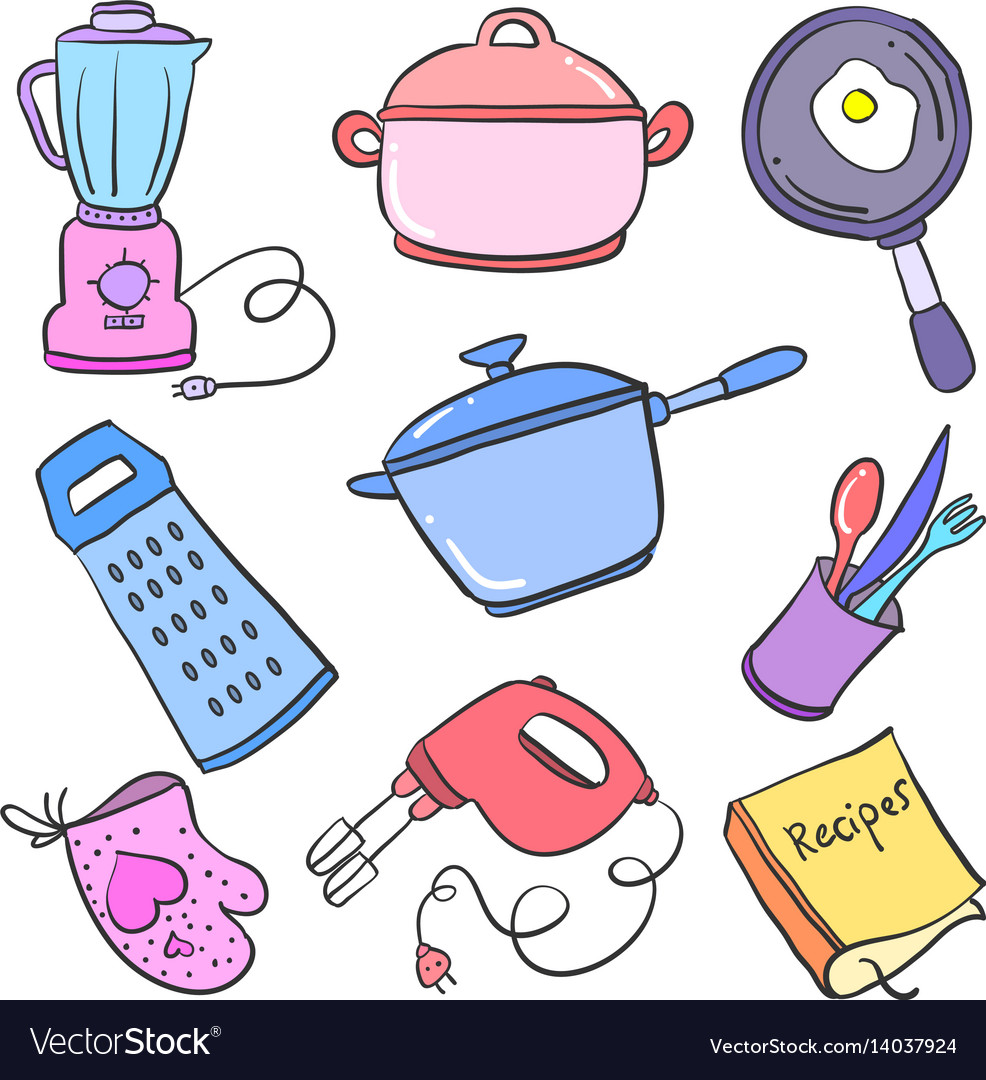 Doodle of kitchen set object collection.