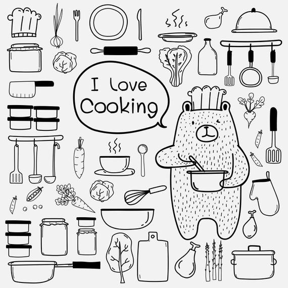 Bear Chef Cooking Clipart, Hand Drawn Doodle Clipart Kitchen.