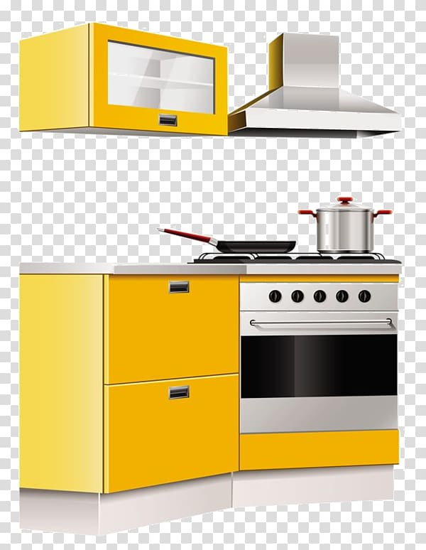 Kitchen set illustration, Kitchen cabinet Table Furniture.
