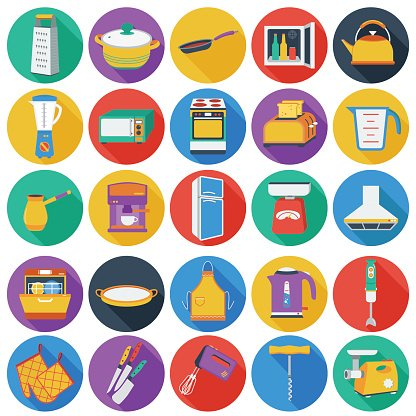 Kitchen set icons in flat style. Big collection of kitchen.