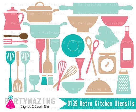 Kitchen Clipart Set Retro Kitchen Utensils Clip Art Graphic Set.
