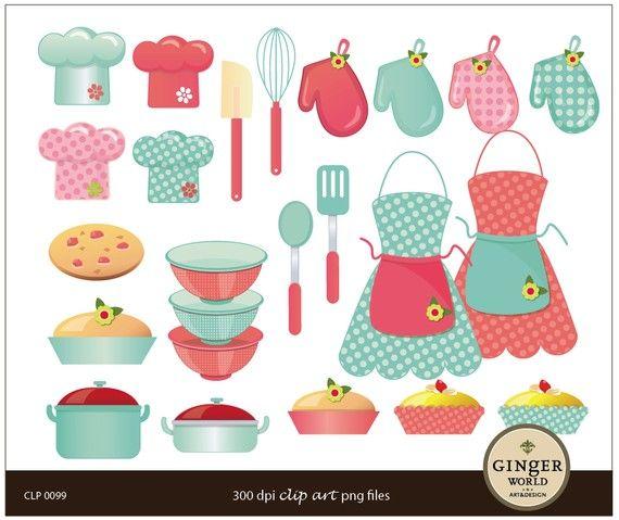 chic cooking mom kitchen diva clip art digital by GingerWorld, $5.75.
