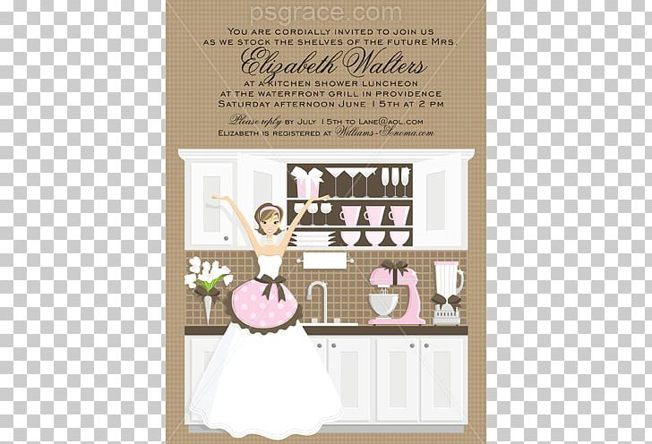 Wedding Invitation Bridal Shower Bride Kitchen Recipe PNG.