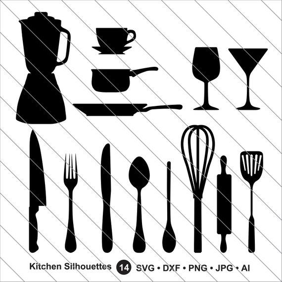 Kitchen Silhouettes SVG, Kitchen Clipart,Kitchen Utensils svg Cut.